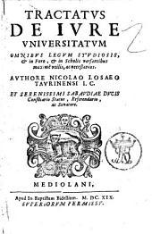 Tractatus de iure vniversitatum. Omnibus legum studiosis & in foro, & in scholis versantibus maximè vtilis, ac necessarius. Authore Nicolao Losaeo Taurinensi ..