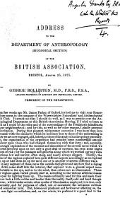 Address to the Department of Anthropology, biological section, of the British Association. Bristol, Aug. 25, 1875