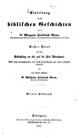 Einleitung in die biblischen Geschichten von Magnus Friedrich Roos PDF