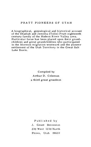 Pratt Pioneers of Utah PDF