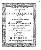 Disputationum metaphysicarum ...: De intelligentiis, Volume 20