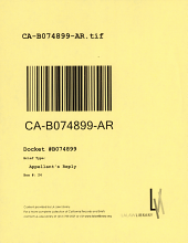 California. Court of Appeal (2nd Appellate District). Records and Briefs: B074899, Appellant's Reply