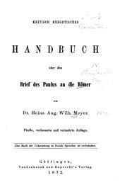 Kritisch exegetisches Handbuch über den Brief des Paulus an die Römer