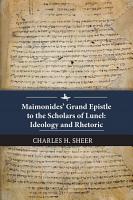 Maimonides    Grand Epistle to the Scholars of Lunel PDF