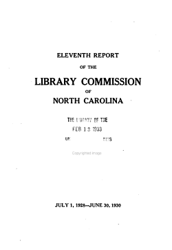 Report of the North Carolina Library Commission PDF