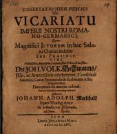 Diss. de vicariatu imperii nostri Romano-Germanici