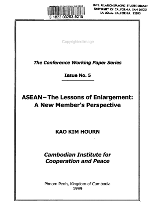 ASEAN  the Lessons of Enlargement