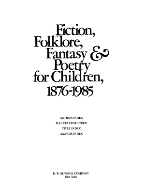 Fiction  Folklore  Fantasy and Poetry for Children  1876 1985