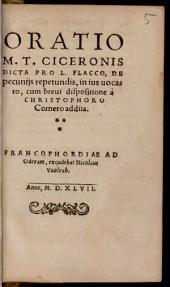 Oratio M. T. Ciceronis dicta pro L. Flacco: De pecuniis repetundis, in ius vocato