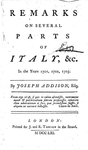 Download Remarks on Several Parts of Italy Book