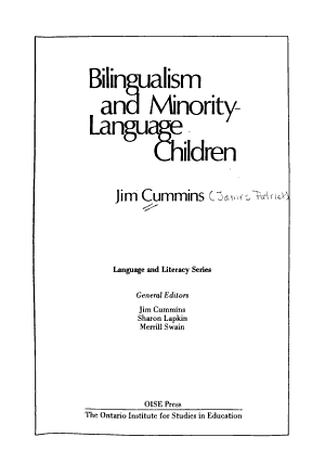 Bilingualism and Minority language Children PDF