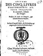 Epitome des cinq livres d'Artemidorus