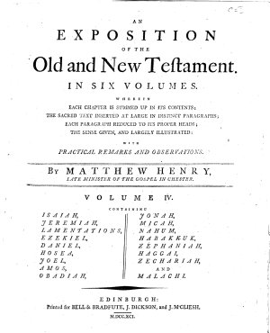 An Exposition of the Old and New Testament  In Six Volumes     By Mattew Henry     Vol  1    6   PDF