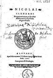 Nicolai Clenardi Peregrinationum, ac de rebus Machometicis epistolæ elegantissimæ