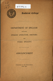 Department of English Including English Literature, Rhetoric and Public Speaking : Announcement