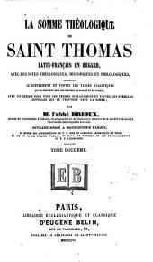 La Somme théologique de Saint Thomas: Volume12