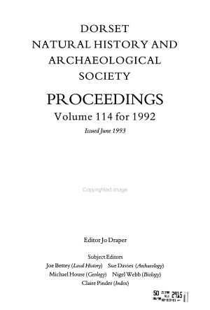 Proceedings - Dorset Natural History and Archaeological Society