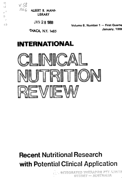 International Clinical Nutrition Review PDF
