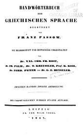 Handwörterbuch der griechischen Sprache: Band 2,Ausgabe 2