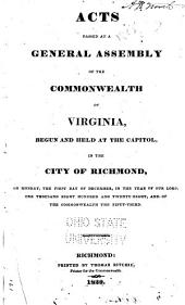 Acts Passing at a General Assembly of the Commonwealth of Virginia