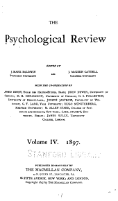 Psychological Review: Volume 4