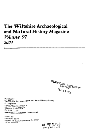 The Wiltshire Archaeological and Natural History Magazine