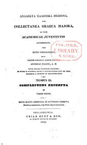 Analekta hellēnika meizona: Excerpta ex variis poetis