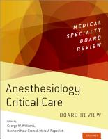 Anesthesiology Critical Care Board Review PDF