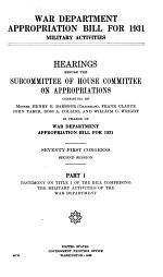 War Department Appropriation Bill for 1931