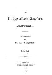 Aus Philipp Albert Stapfer's Briefwechsel: Volume11
