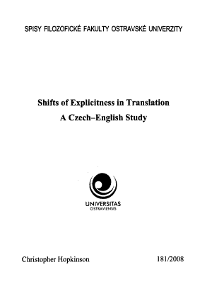 Shifts of Explicitness in Translation PDF