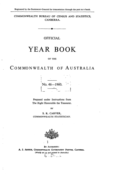 Download Official Year Book of the Commonwealth of Australia No  46   1960 Book