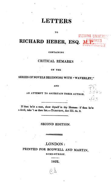 Letters to Richard Heber  Esq   M P