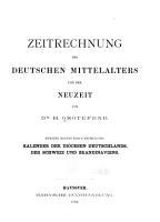 Zeitrechnung des deutschen Mittelalters und der Neuzeit PDF