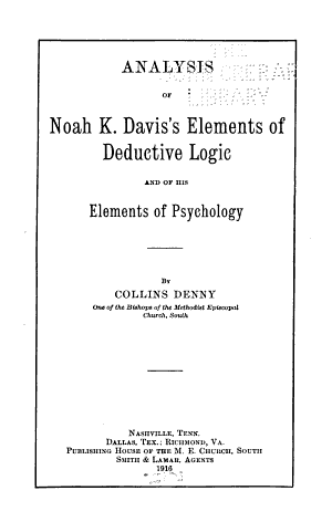 Analysis of Noah K  Davis s Elements of Deductive Logic and of His Elements of Psychology PDF