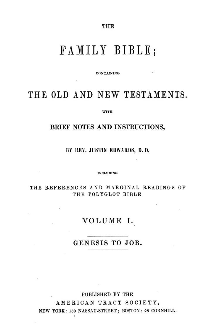 The Family Bible: Genesis to Job