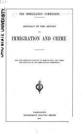 Abstract of the Report on Immigration and Crime