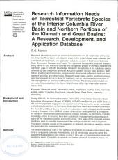 Research information needs on terrestrial vertebrate species of the interior Columbia River basin and northern portions of the Klamath and Great basins: a research, development, and application database