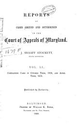 Maryland Reports: Cases Adjudged in the Court of Appeals of Maryland, Volume 51