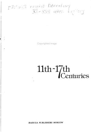 A History of Russian Literature, 11th-17th Centuries