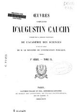 Ouvres complètes d'Augustin Cauchy: Mémoires, notes et articles. 1a Serie, Volume9