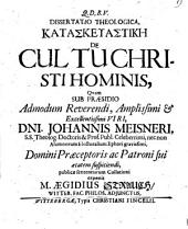 Diss. theol. kataskeuastikē de cultu Christi hominis