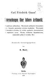 Carl Friedrich Gauss' Untersuchungen uber hohere Arithmetik: Disquisitiones Arithmeticae ...