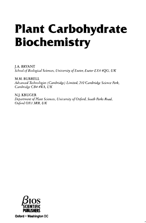 Plant Carbohydrate Biochemistry