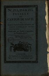 Feuille du Canton de Vaud: ou Journal d'agriculture pratique, des sciences naturelles et d'économie publique
