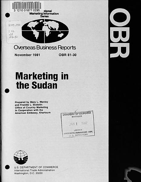 Marketing in the Sudan PDF