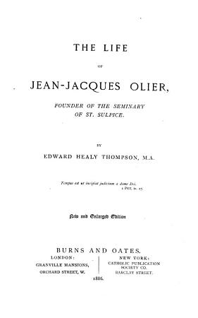 The Life of Jean Jacques Olier PDF