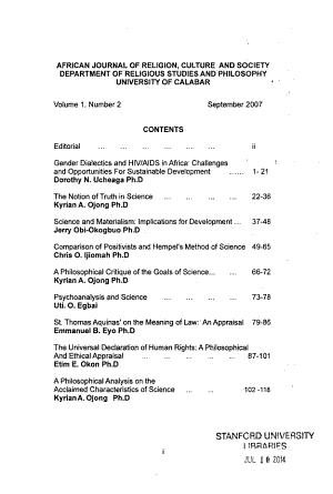 African Journal of Religion  Culture  and Society PDF