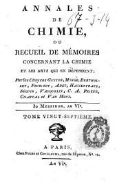 Annales de chimie ou Recueil de mémoires concernant la chimie et les arts qui en dépendent: Volumes27à28
