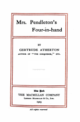 Mrs  Pendleton s Four in hand PDF